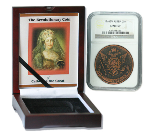 Genuine Catherine the Great: Russian 5 Kopek in NGC-Certified Slab Box (Medium grade) : Authentic Artifact - Museum Company Photo