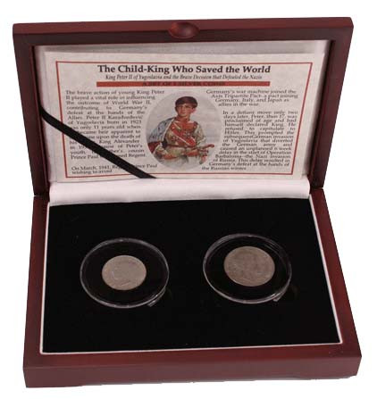 Genuine Child King Who Saved the Wold: Yugoslavia's Peter II Box of 2 Silver Coins : Authentic Artifact - Museum Company Photo
