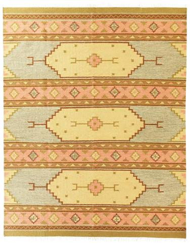 Santa Fe - Antique Blue / Rust Rug : Wool Flat Weave Collection - Photo Museum Store Company