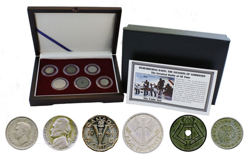 Genuine D-Day: Box of 6 Coins from the WWII Invasion of Normandy  : Authentic Artifact - Museum Company Photo