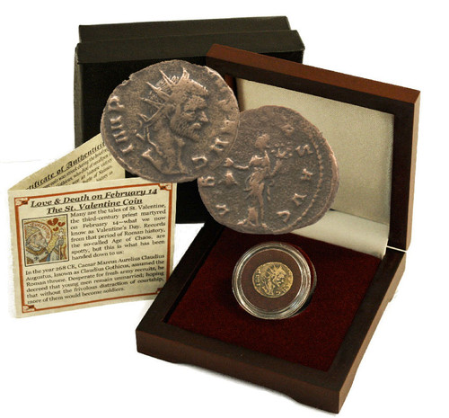 Genuine Father of Valentine's Day Box: Bronze Coin of Roman Emperor Claudius II Gothicus : Authentic Artifact - Museum Company Photo