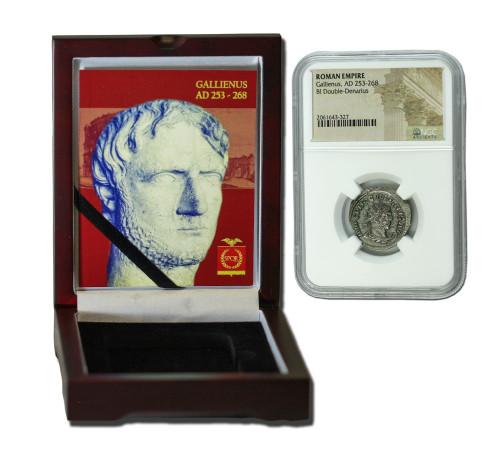 Genuine Gallienus Roman Silver Antoninianus NGC Certified Slab Box (High grade) : Authentic Artifact - Museum Company Photo