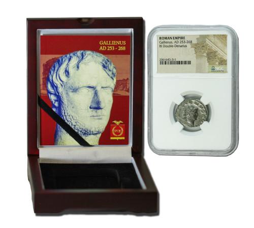 Genuine Gallienus Roman Silver Antoninianus NGC Certified Slab Box (Low grade) : Authentic Artifact - Museum Company Photo
