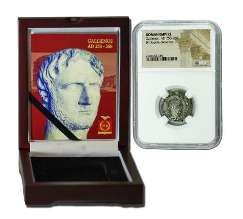 Genuine Gallienus Roman Silver Antoninianus NGC Certified Slab Box (Medium grade) : Authentic Artifact - Museum Company Photo