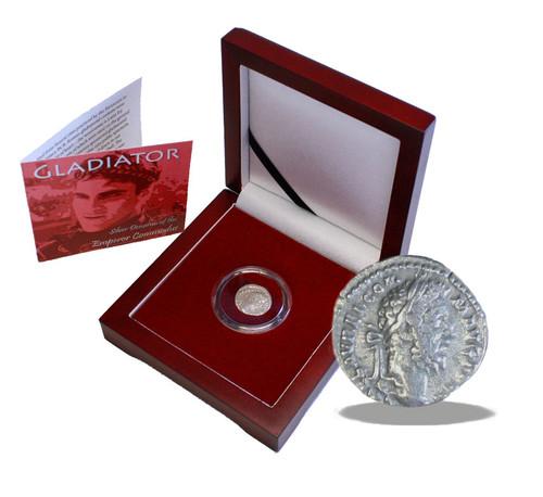 Genuine Gladiator Box: Silver Denarius of the Emperor Commodus : Authentic Artifact - Museum Company Photo