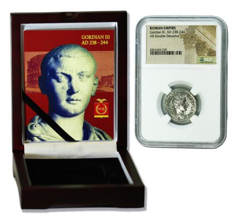 Genuine Gordian III Roman Silver Antoninianus NGC Certified Slab Box (High grade) : Authentic Artifact - Museum Company Photo