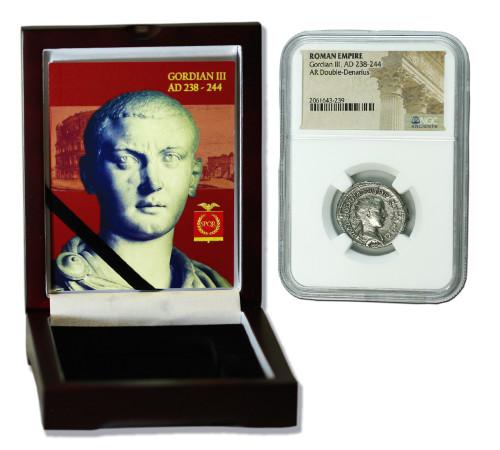 Genuine Gordian III Roman Silver Antoninianus NGC Certified Slab Box (Medium grade) : Authentic Artifact - Museum Company Photo