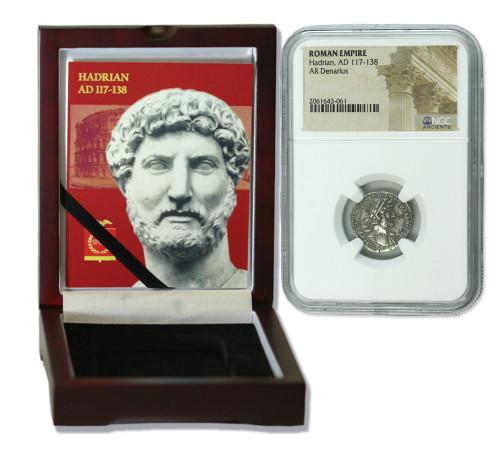 Genuine Hadrian Roman Silver Denarius NGC Certified Slab Box (High grade) : Authentic Artifact - Museum Company Photo