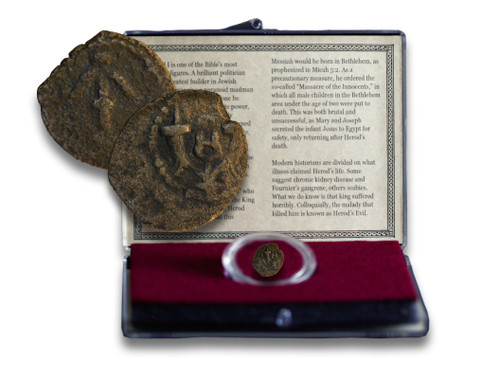 Genuine Herod the Great Bronze Prutah Clear Box : Authentic Artifact - Museum Company Photo