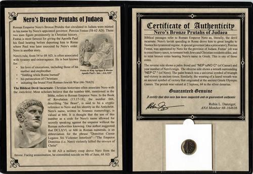 Genuine Judaea Procurator Porcius Festus Album : Authentic Artifact - Museum Company Photo