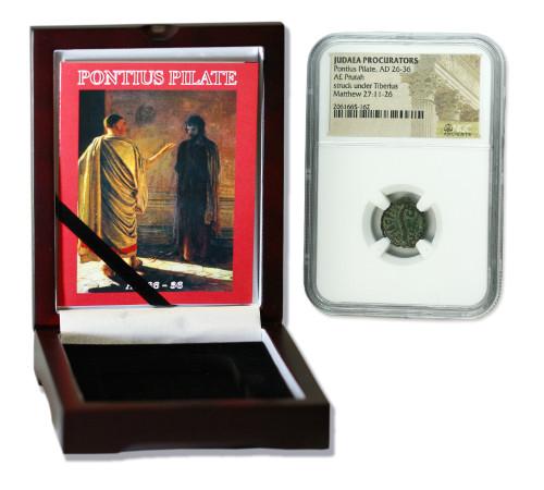 Genuine Pontius Pilate Judaea Bronze Prutah NGC Certified Slab Box (High grade) : Authentic Artifact - Museum Company Photo