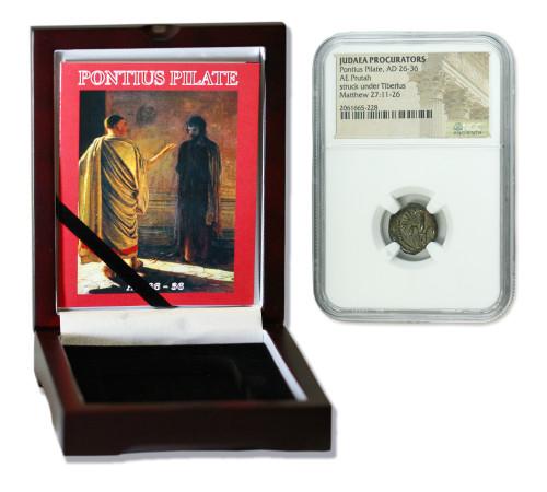 Genuine Pontius Pilate Judaea Bronze Prutah NGC Certified Slab Box (Premium grade) : Authentic Artifact - Museum Company Photo