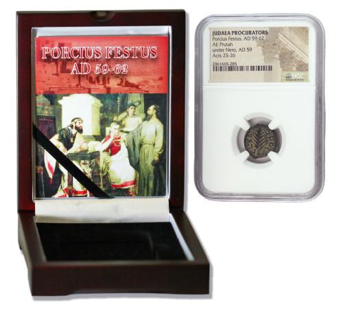 Genuine Porcius Festus Judaea Bronze Prutah NGC Certified Slab Box (High grade) : Authentic Artifact - Museum Company Photo
