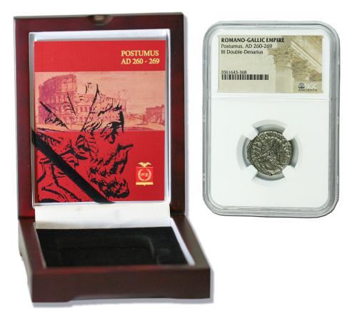 Genuine Postumus Roman Silver Antoninianus NGC Certified Slab Box (High grade) : Authentic Artifact - Museum Company Photo