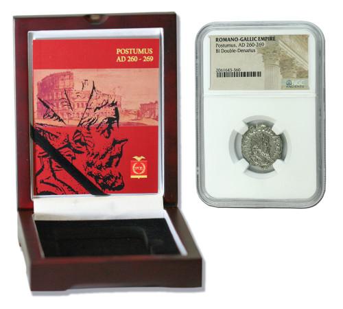 Genuine Postumus Roman Silver Antoninianus NGC Certified Slab Box (Medium grade) : Authentic Artifact - Museum Company Photo