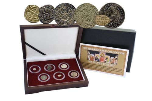 Genuine Renaissance Era Box: 6 Silver European Coins : Authentic Artifact - Museum Company Photo