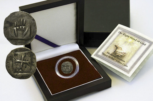 """Genuine Right Hand of God Box: Medieval German """"Hand Heller"""" Silver Coin : Authentic Artifact - Museum Company Photo"""