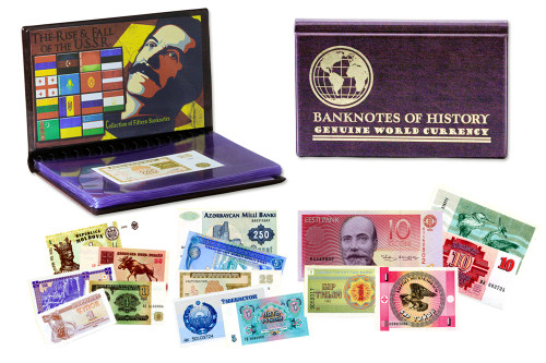 Genuine Rise and Fall of the USSR 15 Banknote Folio : Authentic Artifact - Museum Company Photo
