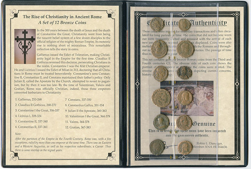 Genuine Rise of Christianity in Ancient Rome: 12 Bronze Coins Album : Authentic Artifact - Museum Company Photo