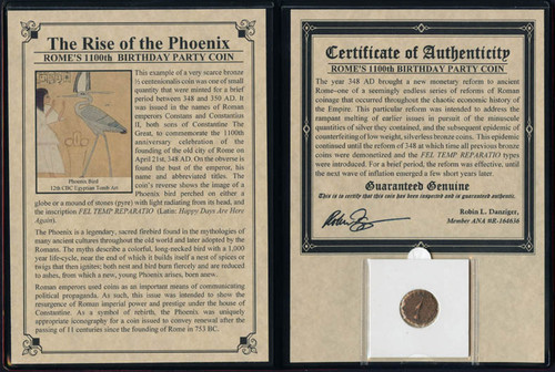 Genuine Rise Of The Phoenix-Rome's 1100th Birthday Party Coin Album : Authentic Artifact - Museum Company Photo