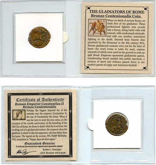 Genuine Roman Centenionalis Constantius II Mini : Authentic Artifact - Museum Company Photo