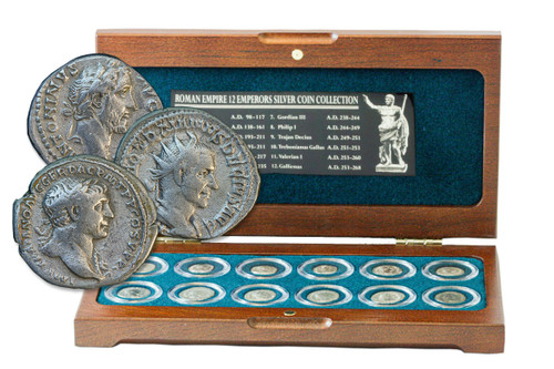 Genuine Roman Empire Collection: Box of 12 Silver Coins from Imperial Rome : Authentic Artifact - Museum Company Photo