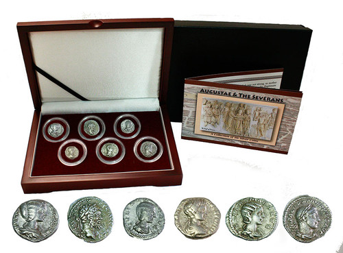 """Genuine Rome's """"Three Julias"""" : Severan Dynasty Box of 6 Silver Coins : Authentic Artifact - Museum Company Photo"""