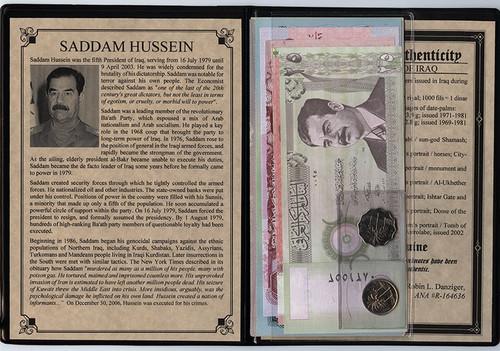 Genuine Saddam Hussein: Dictator Of Iraq Album (AU/UNC) : Authentic Artifact - Museum Company Photo