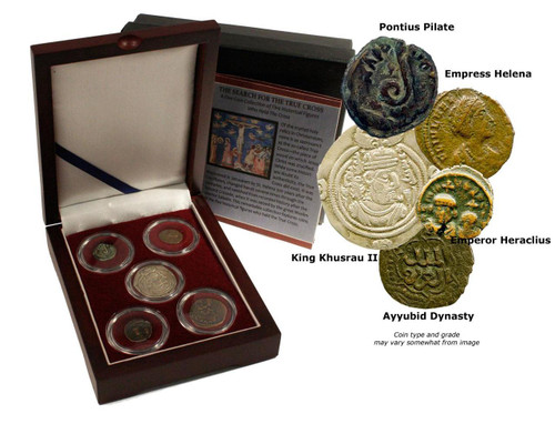 Genuine Search for the True Cross: Box of 5 Ancient Coins : Authentic Artifact - Museum Company Photo