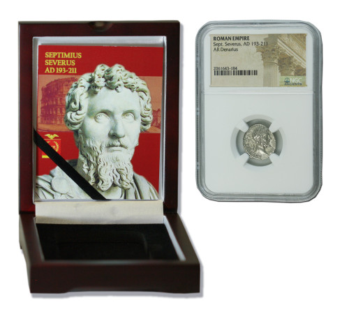 Genuine Septimius Severus Roman Silver Denarius NGC Certified Slab Box (High grade) : Authentic Artifact - Museum Company Photo