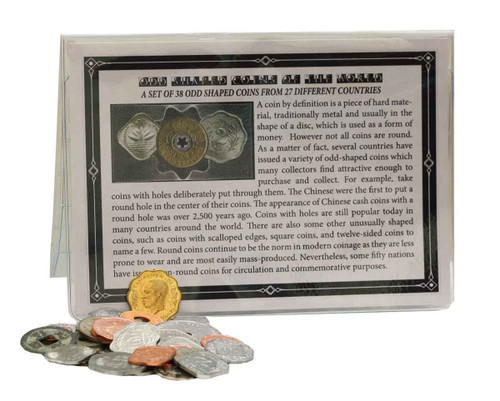 Genuine Set Of 38 Odd Shaped World Coins : Authentic Artifact - Museum Company Photo