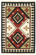 Sancho - Cream / Black Rug : Wool Flat Weave Collection - Photo Museum Store Company