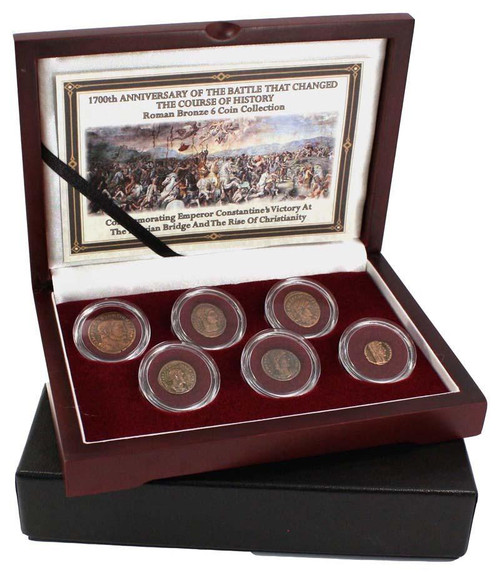Genuine The Battle of the Milvian Bridge: Constantine the Great's Roman Bronze 6-Coin Box : Authentic Artifact - Museum Company Photo