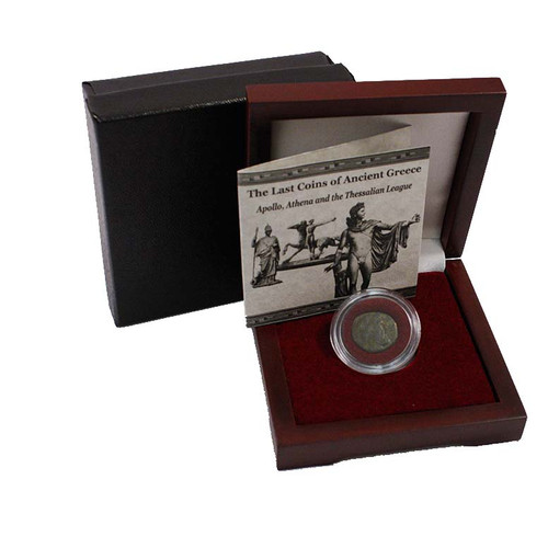 Genuine The Last Coins Of Ancient Greece Box:The Thessalian League with Coin of Apollo/Athena : Authentic Artifact - Museum Company Photo