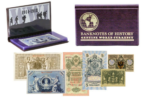 Genuine The Shot Heard Round the World: WWI 6 Banknote Collection Folio : Authentic Artifact - Museum Company Photo