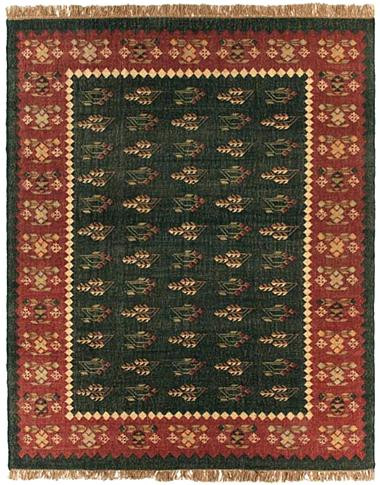 Prescott - Charcoal / Brick Rug : Wool Flat Weave Collection - Photo Museum Store Company
