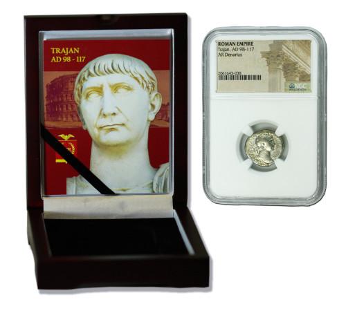 Genuine Trajan Roman Silver Denarius NGC Certified Slab Box (High grade) : Authentic Artifact - Museum Company Photo