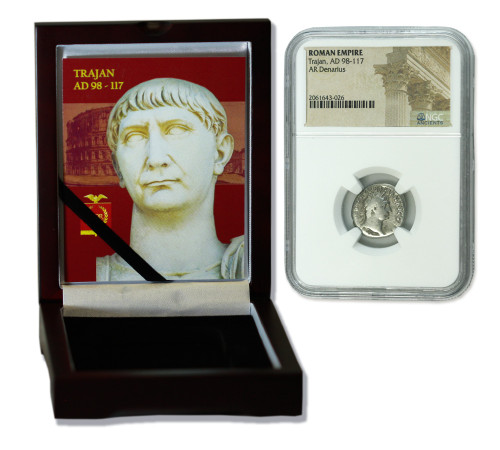 Genuine Trajan Roman Silver Denarius NGC Certified Slab Box (Low grade) : Authentic Artifact - Museum Company Photo