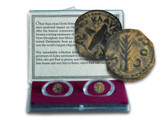Genuine Trials of Saint Paul: Two Bronze Prutahs of Judaea Clear Box  : Authentic Artifact - Museum Company Photo