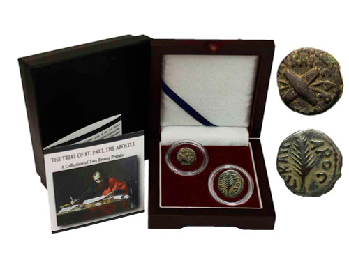 Genuine Trials of St. Paul: Box of 2 Ancient Bronze Coins : Authentic Artifact - Museum Company Photo