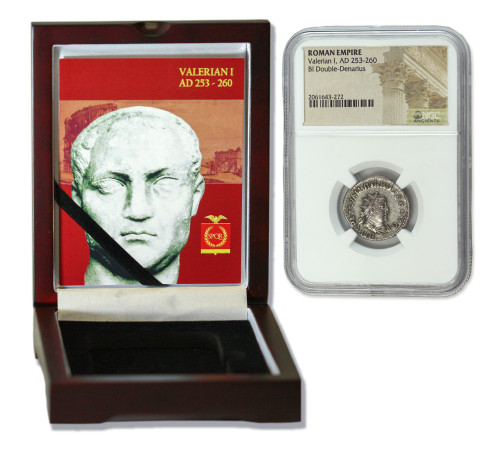 Genuine Valerian 1st Roman Silver Antoninianus NGC Certified Slab Box (High grade) : Authentic Artifact - Museum Company Photo