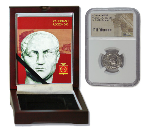 Genuine Valerian 1st Roman Silver Antoninianus NGC Certified Slab Box (Low grade) : Authentic Artifact - Museum Company Photo