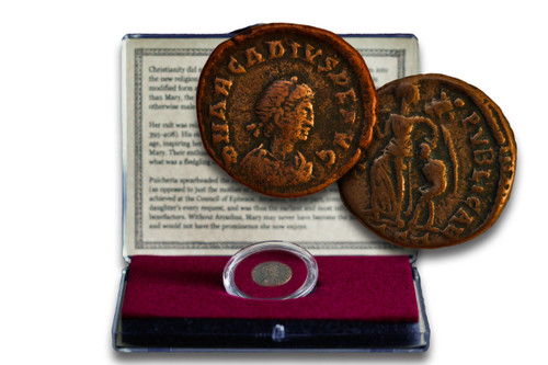 Genuine Virgin Mary Coin: Bronze Coin from the Reign of Emperor Arcadius Clear Box  : Authentic Artifact - Museum Company Photo