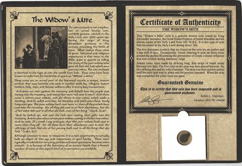 Genuine Widow's Mite Bronze Lepton Album : Authentic Artifact - Museum Company Photo