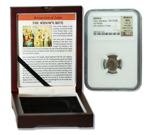 Genuine Widow's Mite Judaea Bronze Prutah NGC Certified Slab Box (Premium Grade) : Authentic Artifact - Museum Company Photo