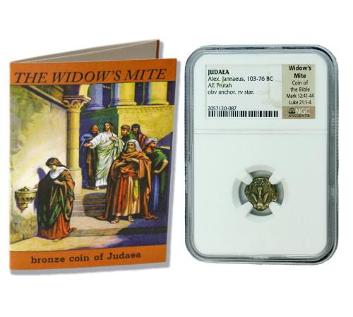 Genuine Widow's Mite Judaea Bronze Prutah NGC Certified Slab Clear Box (High Grade) : Authentic Artifact - Museum Company Photo