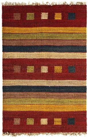 Rambler - Brick / Gold Rug : Hemp Flat Weave Collection - Photo Museum Store Company