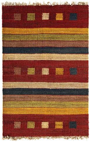 Rambler - Brick / Gold Rug : Hemp Flat Weave Collection - Photo Museum Store Company