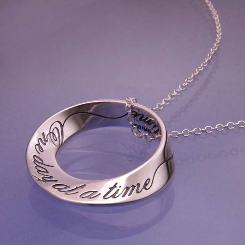 One Day At A Time Mobius Sterling Silver Necklace - Inspirational Jewelry Photo