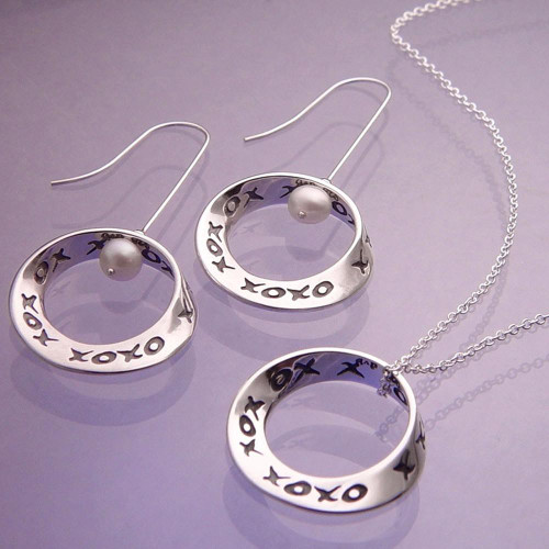 Hugs & Kisses Sterling Silver Earrings - Inspirational Jewelry Photo